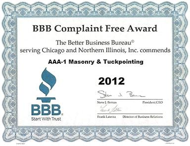 Better Business Bureau Complaint Free Award, 2012