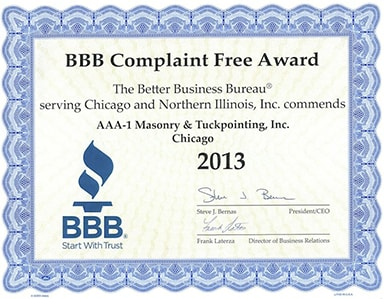 Better Business Bureau Complaint Free Award, 2013