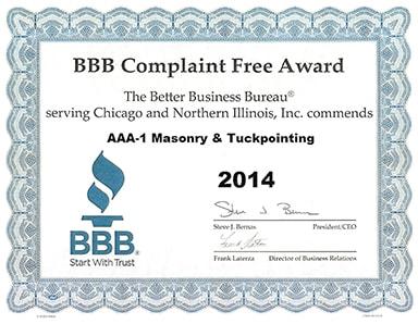 Better Business Bureau Complaint Free Award, 2014