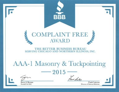 Better Business Bureau Complaint Free Award, 2015