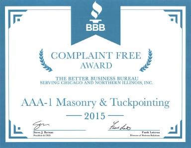 Better Business Bureau Complaint Free Award, 2015