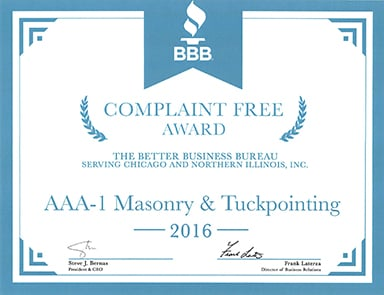 Better Business Bureau Complaint Free Award, 2016