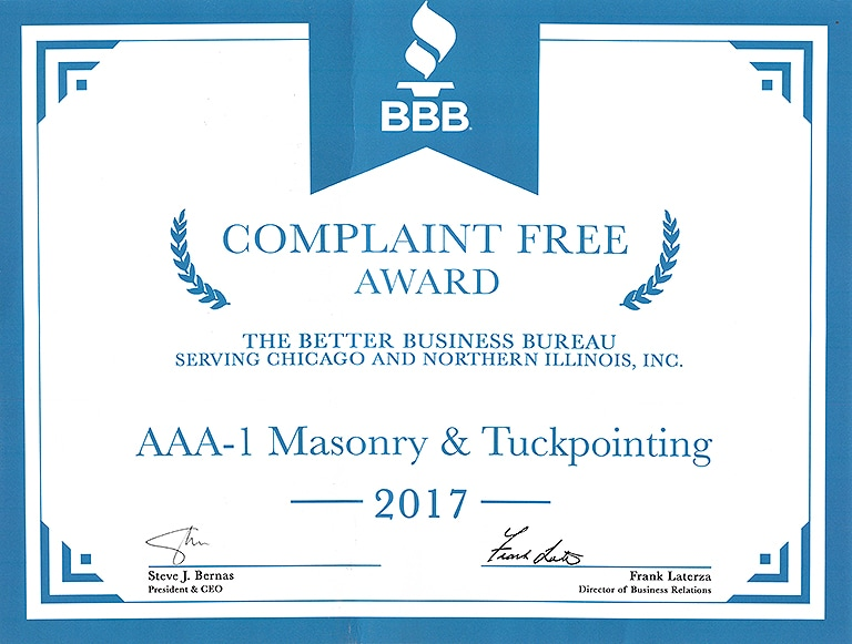 Better Business Bureau Complaint Free Award, 2017