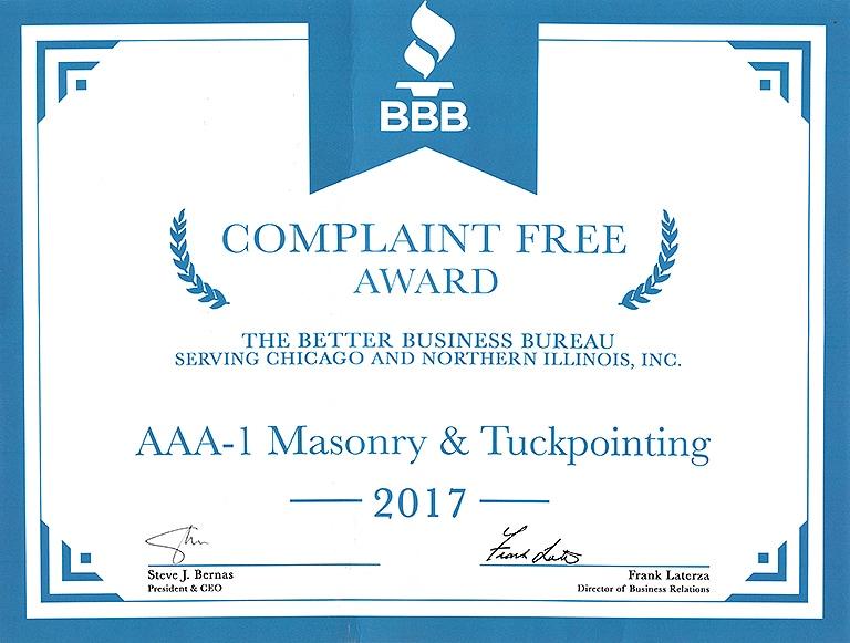 Better Business Bureau Complaint Free Award, 2017