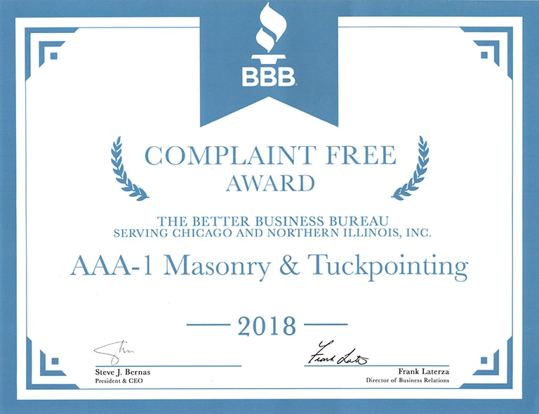 Better Business Bureau Complaint Free Award, 2018