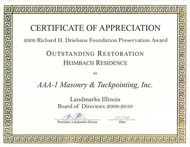 2009 Richard H. Driehaus Foundation Preservation Award, Outstanding Restoration, Heimbach Residence