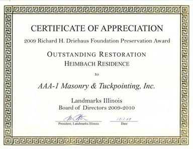 2009 Richard H. Driehaus Foundation Preservation Award, Outstanding Restoration, Heimbach Residence