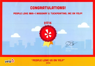 People Love Us On Yelp! Award, 2016