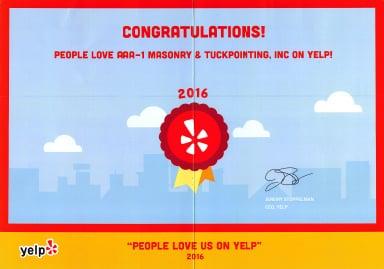 People Love Us On Yelp! Award, 2016