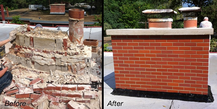 Before and after of a residential chimney project
