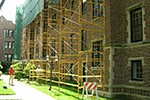 Scaffolding in courtyard in Evanston