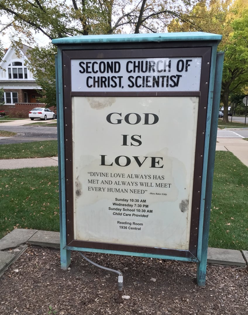 Sign for Second Church of Christ, Scientist