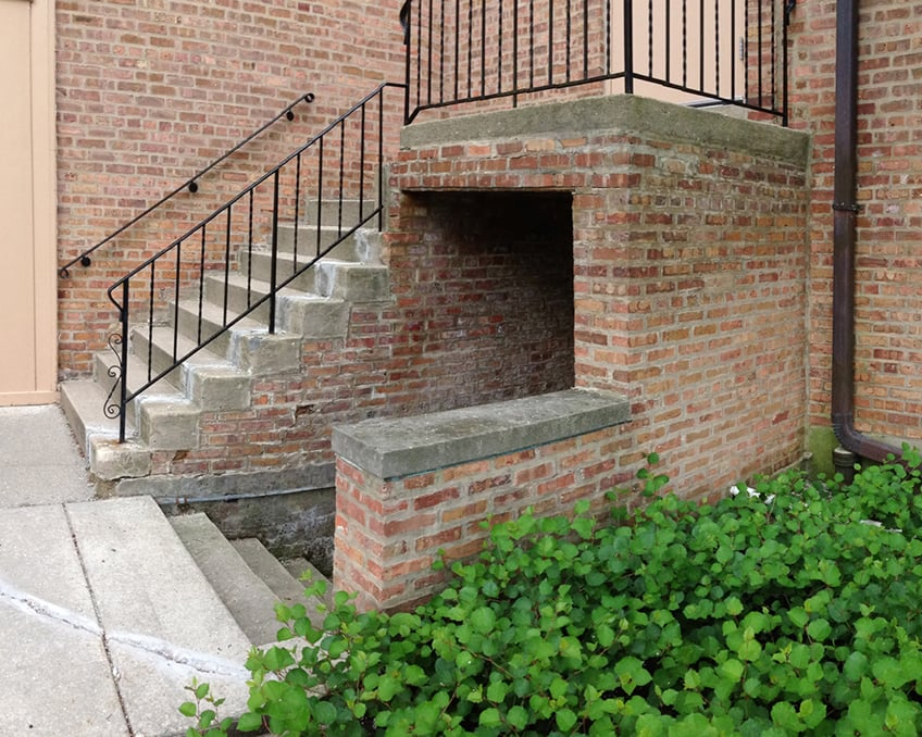 Rear entrance to church with staircases up and down