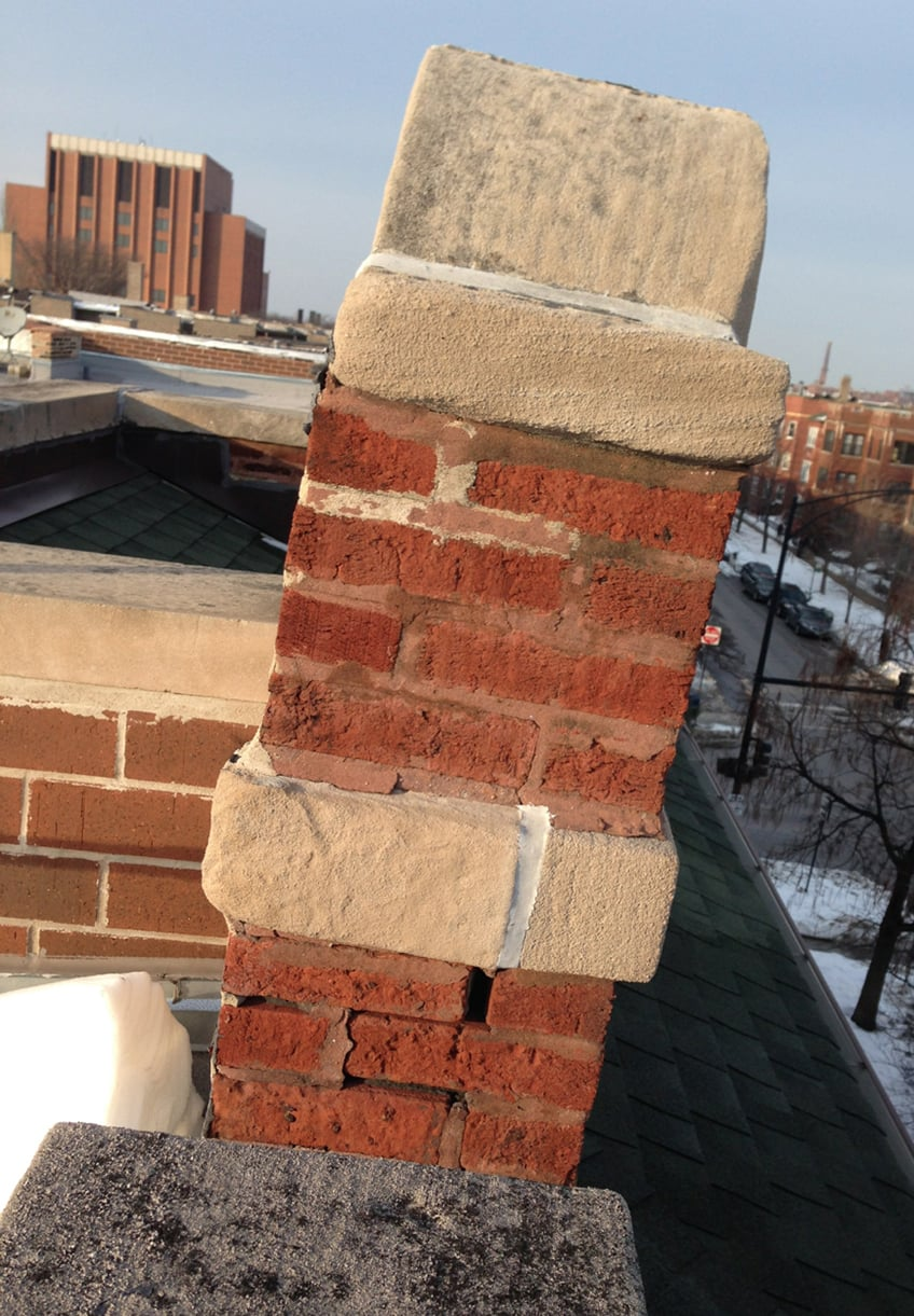 A severely deflected and pitched brick column