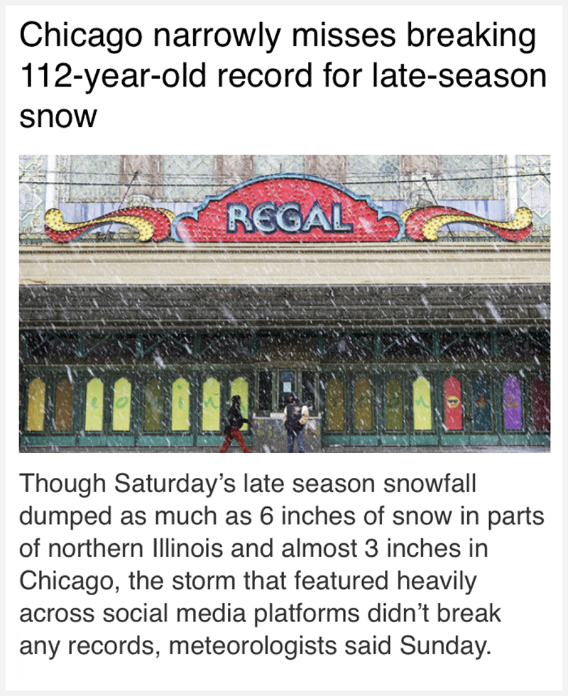 News story headlined: 'Chicago narrowly misses breaking 112-year-old record for late-season snow'