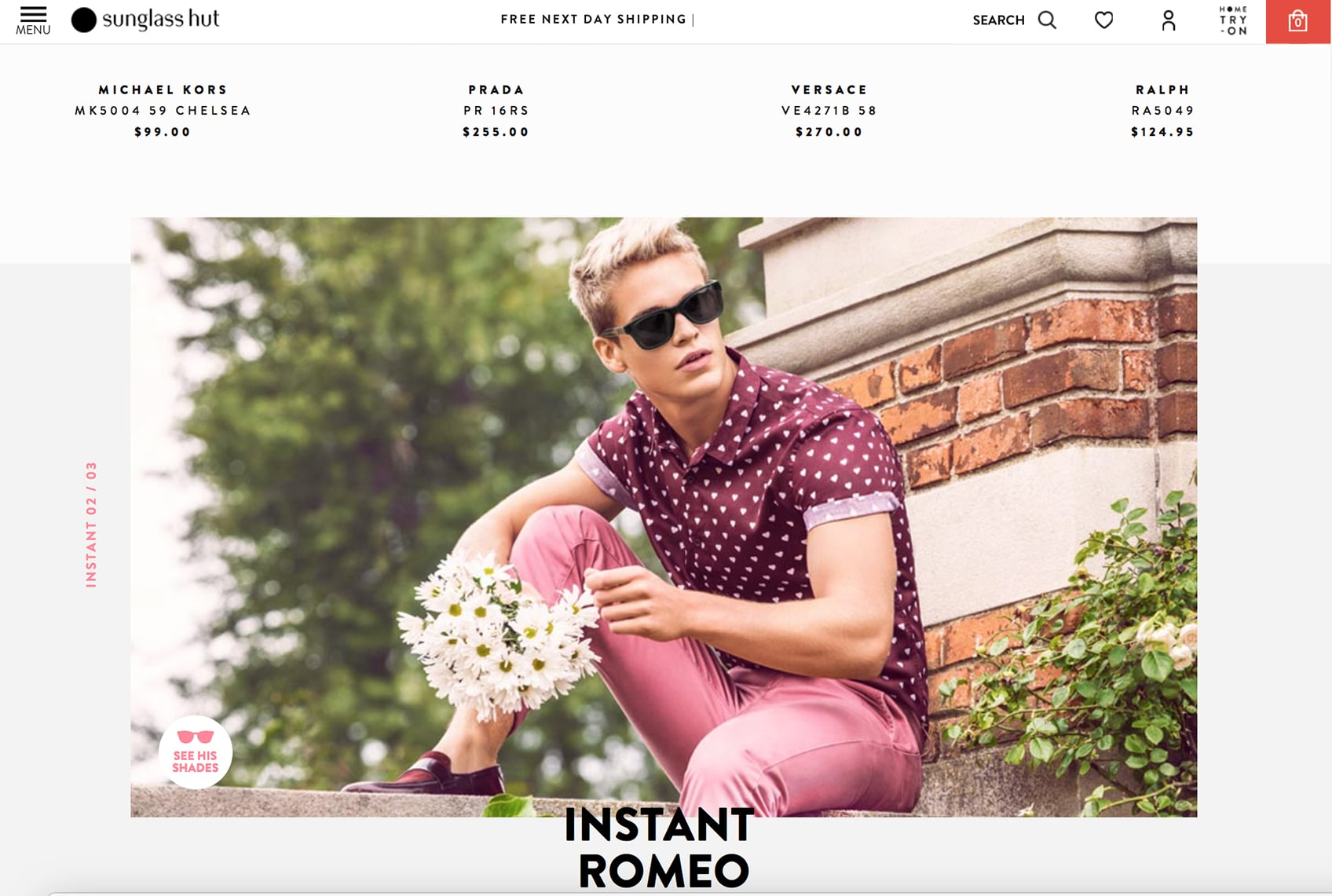 A screenshot of the Sunglass Hut website featuring a young gentleman in pink and purple sitting in front of a brick structure