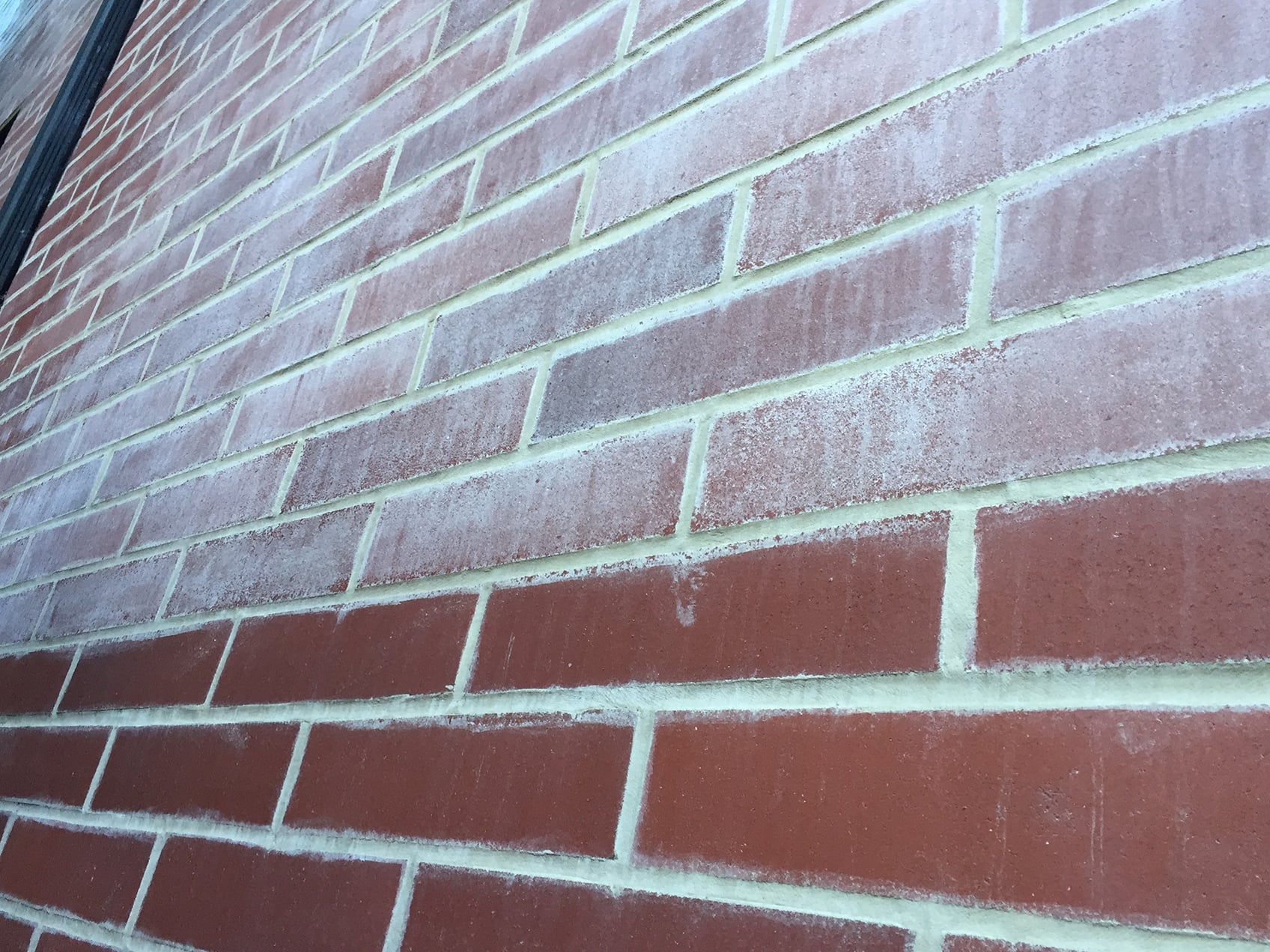 A brick wall with a milky haze on the top section and no haze on the bottom half