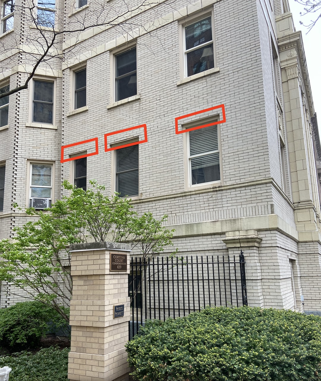 Diagram showing location of lintels above windows